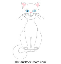 White cat isolated on white background. Vector illustration