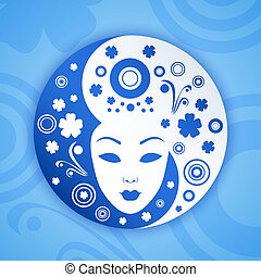 Ying yang symbol with woman face. Vector illustration