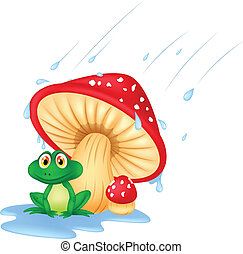 Mushroom with a toad cartoon - Vector illustration of...
