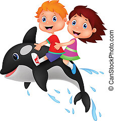 Cartoon Boy and girl riding orca