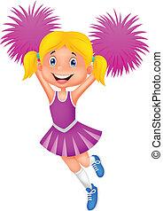 Cheerleader cartoon with Pom Poms - Vector illustration of...