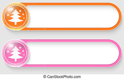 orange and pink vector abstract buttons with a Christmas tree