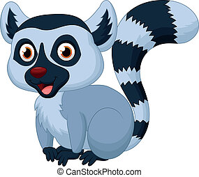 Cute lemur cartoon - Vector illustration of Cute lemur...