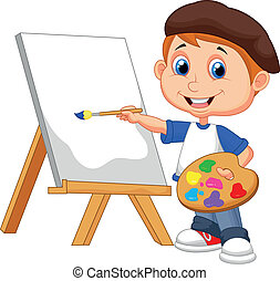 Cartoon boy painting - Vector illustration of Cartoon boy...