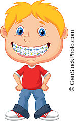 Little boy cartoon with brackets - Vector illustration of...