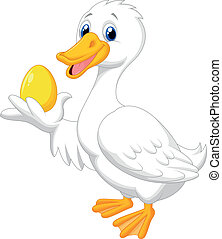 Cute duck cartoon holding golden eg - Vector illustration of...