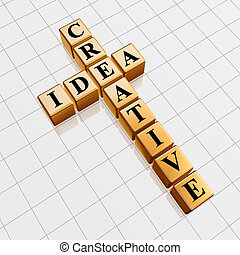 golden creative idea like crossword - 3d golden cubes with...