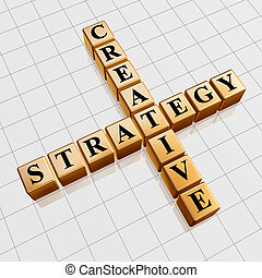 golden creative strategy like crossword - 3d golden cubes...