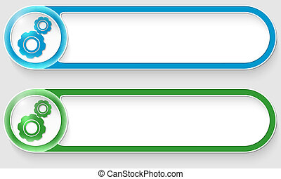 blue and green vector abstract buttons with cogwheels