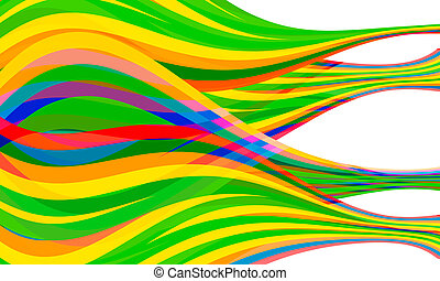 green, yellow; red; violet and blue vector combined abstract lines