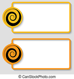 set of two abstract text frame with spirals