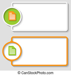 set of two abstract text frame with notes icon