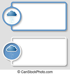 set of two abstract text frame with cloud icon