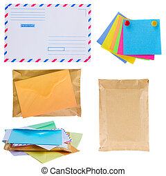 pile of mail, envelopes and stickers isolated on white...