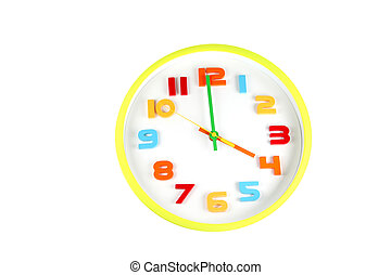 Colorful clock in telling time of four oclock - Colorful...