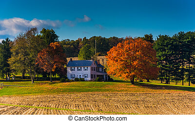 House and autumn colors in rural York County, Pennsylvania