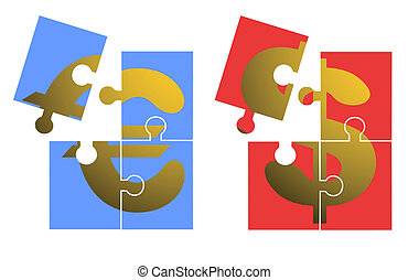 Euro and dollar puzzle - Creative design of euro and dollar...