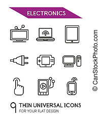 Electronics thin line icon set - 9 computer symbols for your...