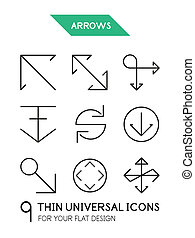 Arrow thin line icon set - 9 computer symbols for your flat...