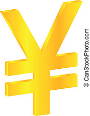 Yen Currency Sign - Japanese Gold Yen Currency Sign Isolated...