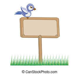 wooden board with grass and bird illustration