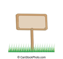wooden board with grass illustration