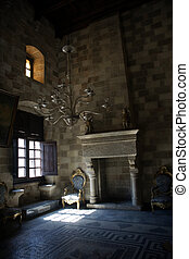 Interior in a castle in Rhodes island