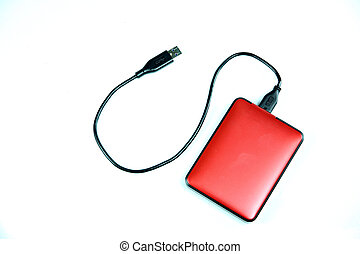 Red external hard disk isolated - Red external hard disk...