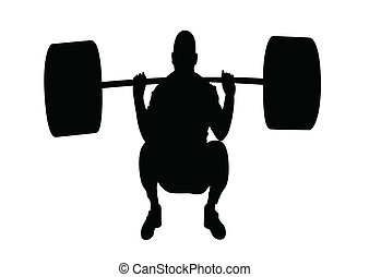 weightlifter - silhouette weightlifter illustration