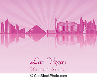 Las Vegas skyline in purple radiant orchid in editable...