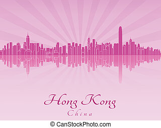 Hong Kong skyline in purple radiant orchid in editable...