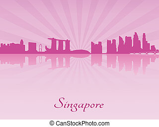 Singapore skyline in purple radiant orchid