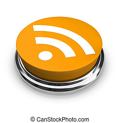 RSS Symbol - Orange Button - A green button with the...