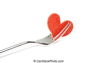 restaurant series, decorative red heart near one fork -...