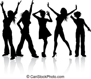 Disco divas - Silhouettes of females dancing