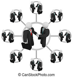 poignée main, -, Business, réseau