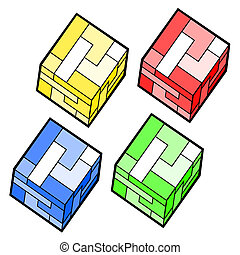Four cubes - Creative design of four cubes