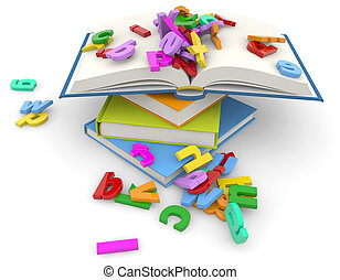 textbooks - stack of books and colorful letters on white...