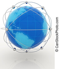 globalization concept - blue globe in a steel web isolated...