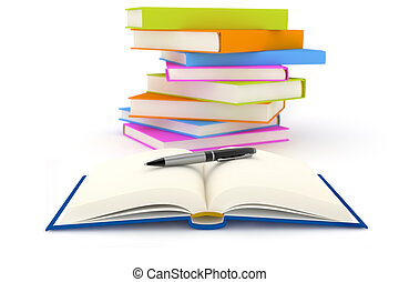 writing - pen over an open book and stacked books