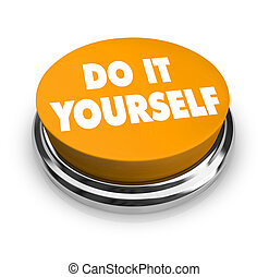 Do it Yourself - Orange Button - A orange button with the...