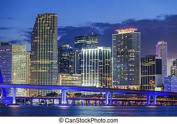 Miami by night - Miami Florida, by night, USA