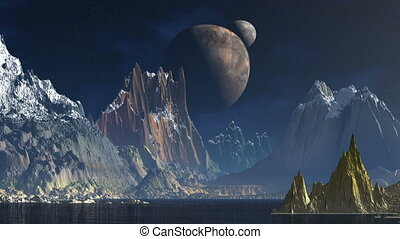 Two moon on a background of mountai - Two moons revolve in...