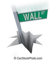 Wall Street Bear Market - Sign Falling in Hole - The famous...