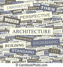 ARCHITECTURE. Seamless pattern. Concept related words in tag...