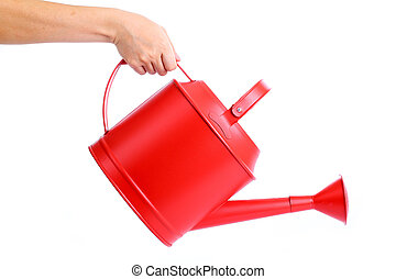 Red Watering pot - Women used hand holding Red Watering pot...