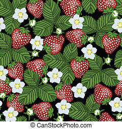 seamless pattern from blossoming strawberry - seamless...