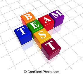colour best team - 3d colour boxes with text - best team,...