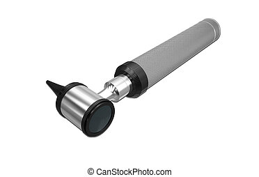 otoscope - Digital illustration of otoscope in white...