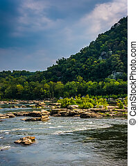 Rapids on the Potomac River in Harpers Ferry, West Virginia....
